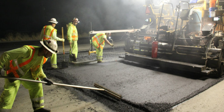 Highway 152 night paving with new leadership