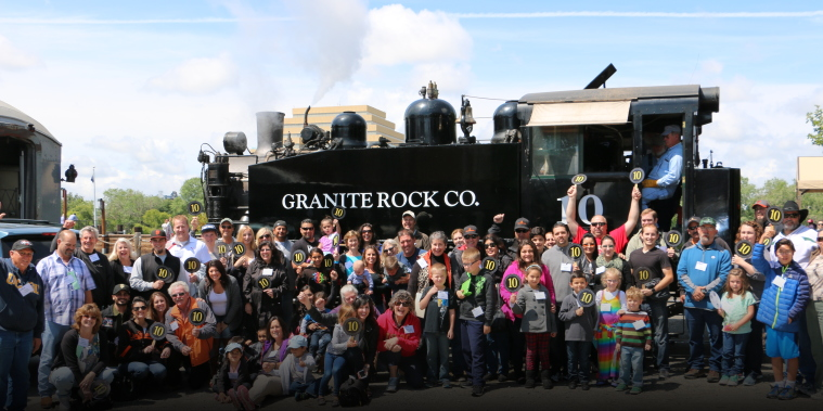 Graniterock People hop aboard for ride on Engine No. 10